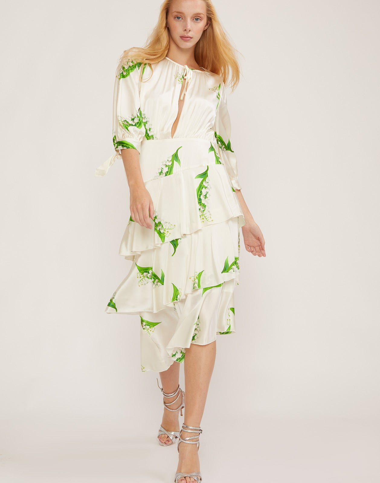 Full front view of Florence Lily of the Valley tiered ruffle dress.