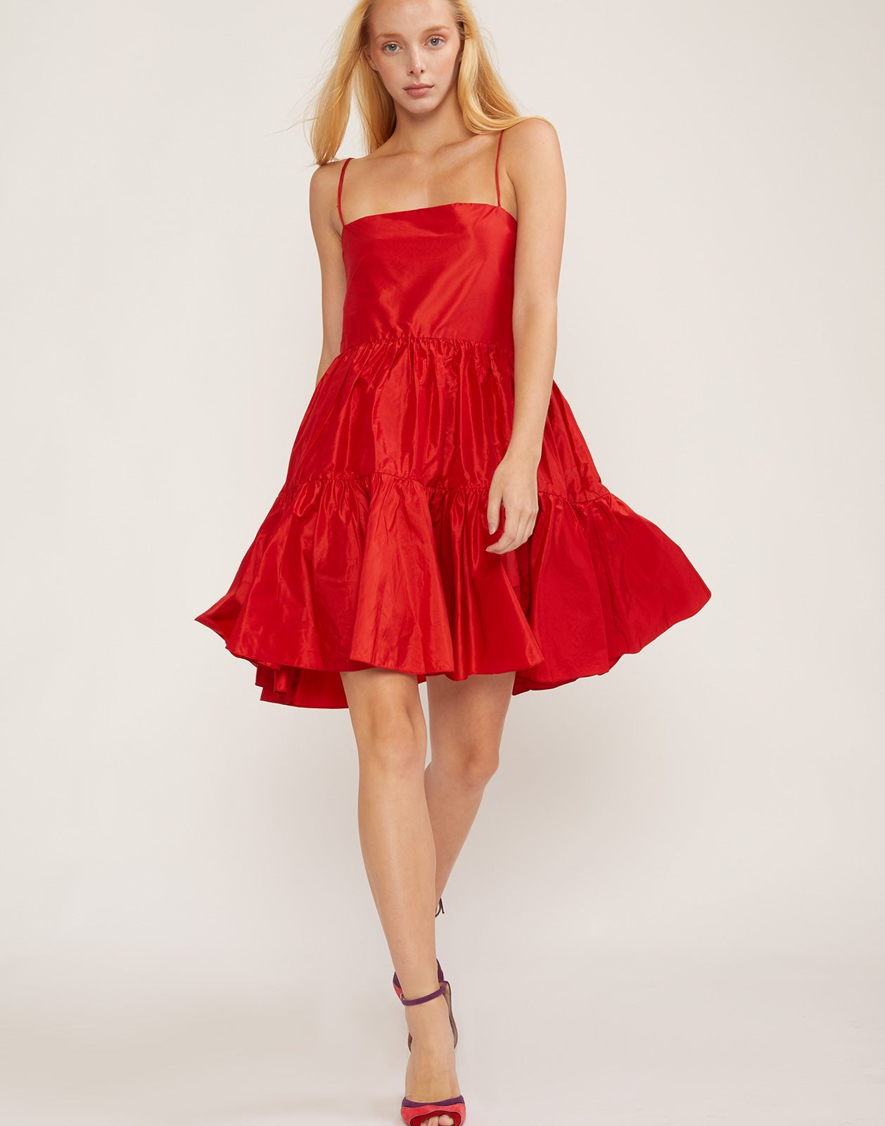 Full front view of the cherry red silk taffeta party dress.