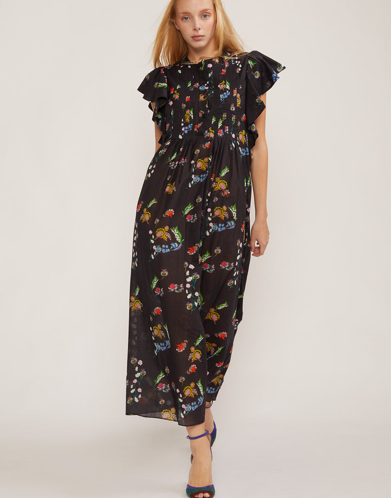 Full front view of the Nairobi lightweight cotton maxi dress in garden floral print.