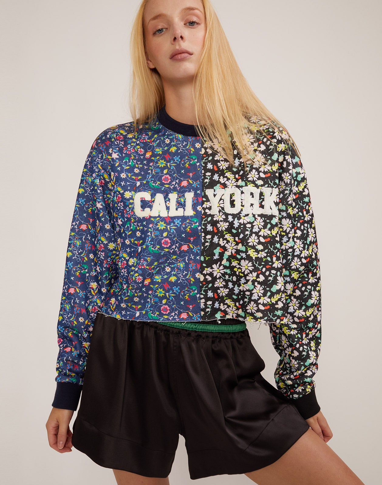 Alternate front view of the CRxBandier CaliYork cropped sweatshirt in mini floral print.