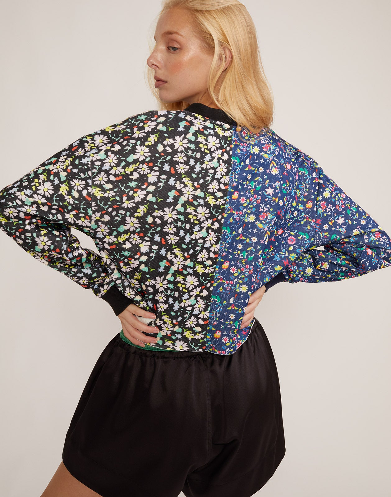 Back view of the CRxBandier CaliYork sweatshirt in mini floral print.