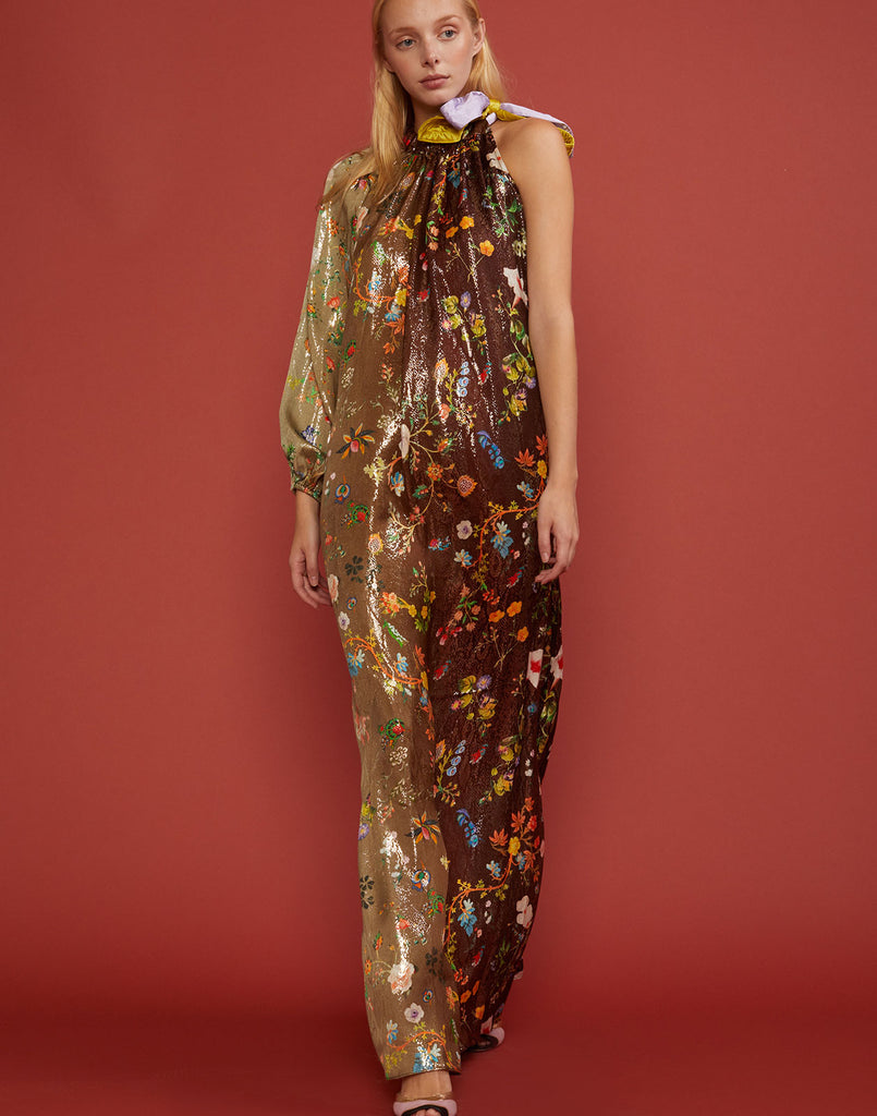 Full front view of one sleeve dress in metallic ombre garden floral print.