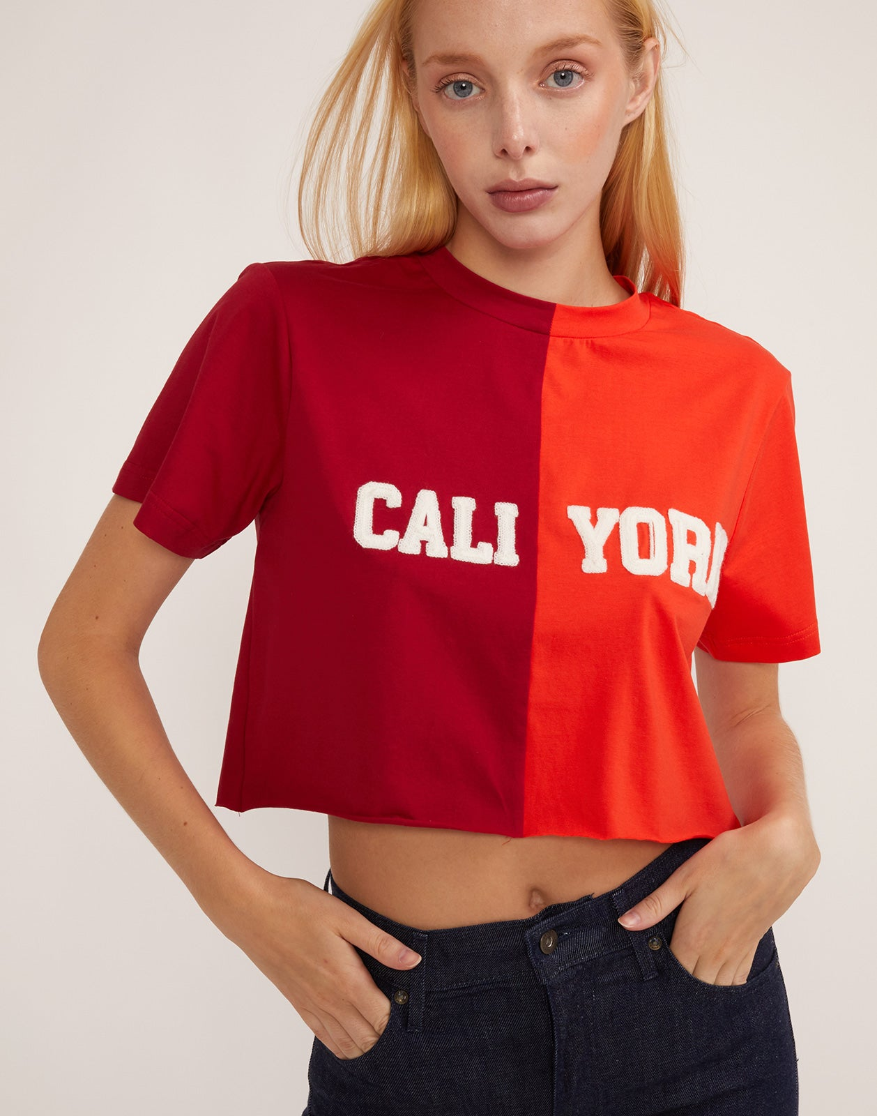 Front view of CaliYork cropped tee in soft cotton.