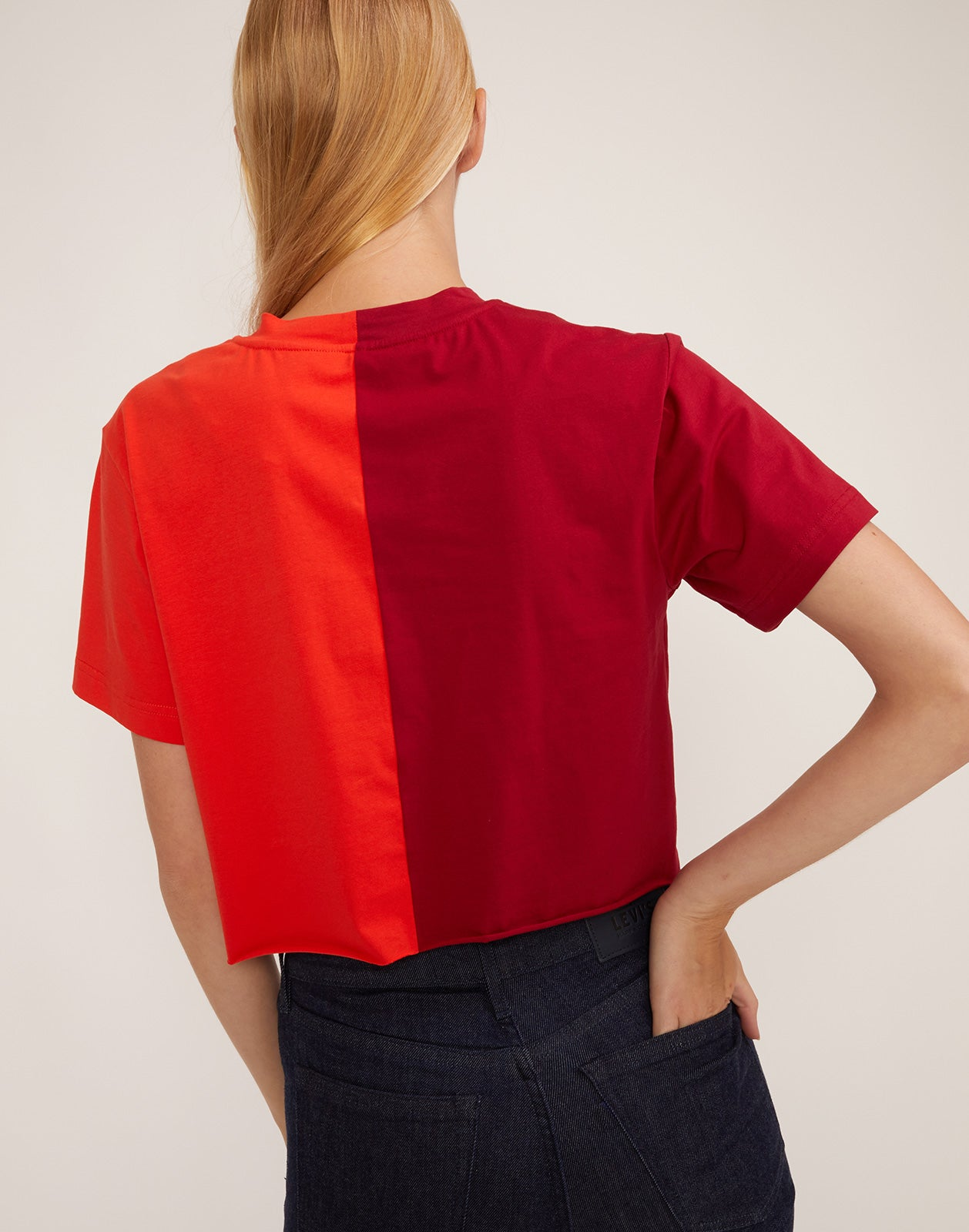 Back view of the CaliYork cropped tee in soft cotton.