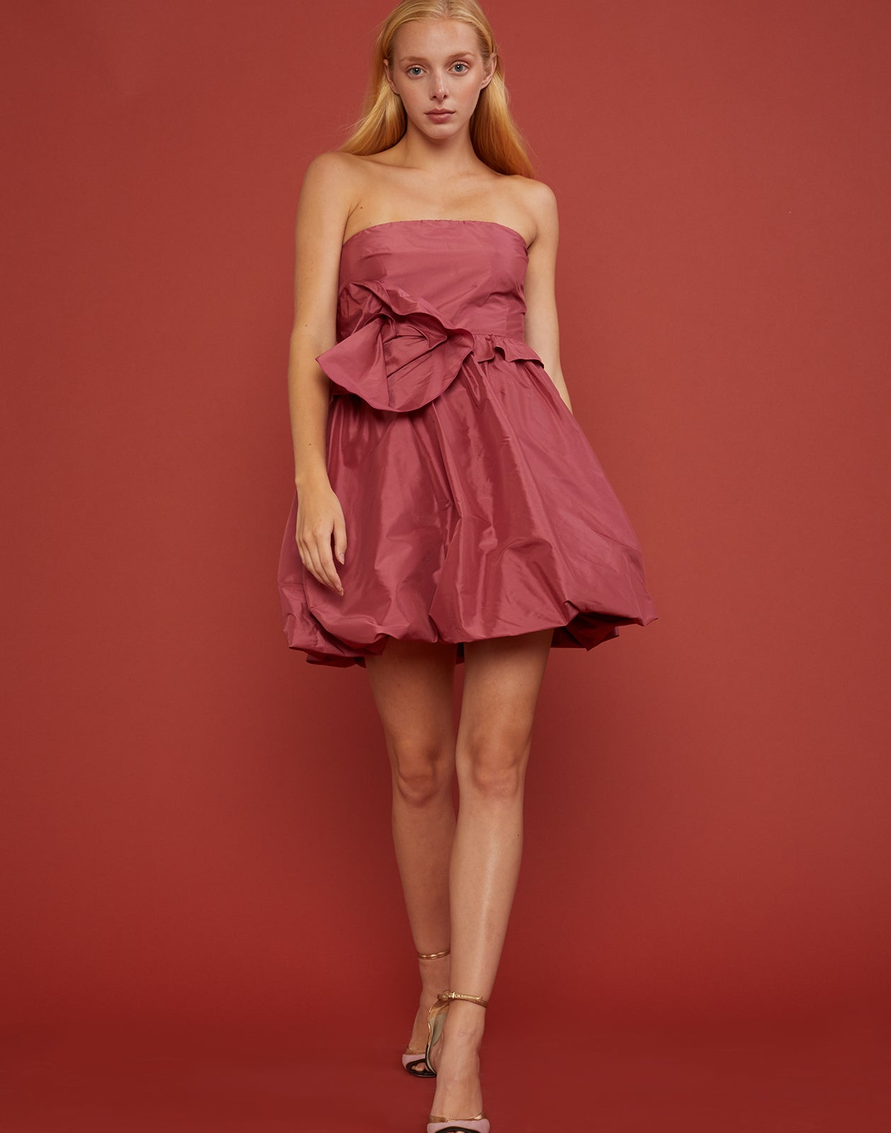 Front view of Lulu Dress with oversized bow detail at waist