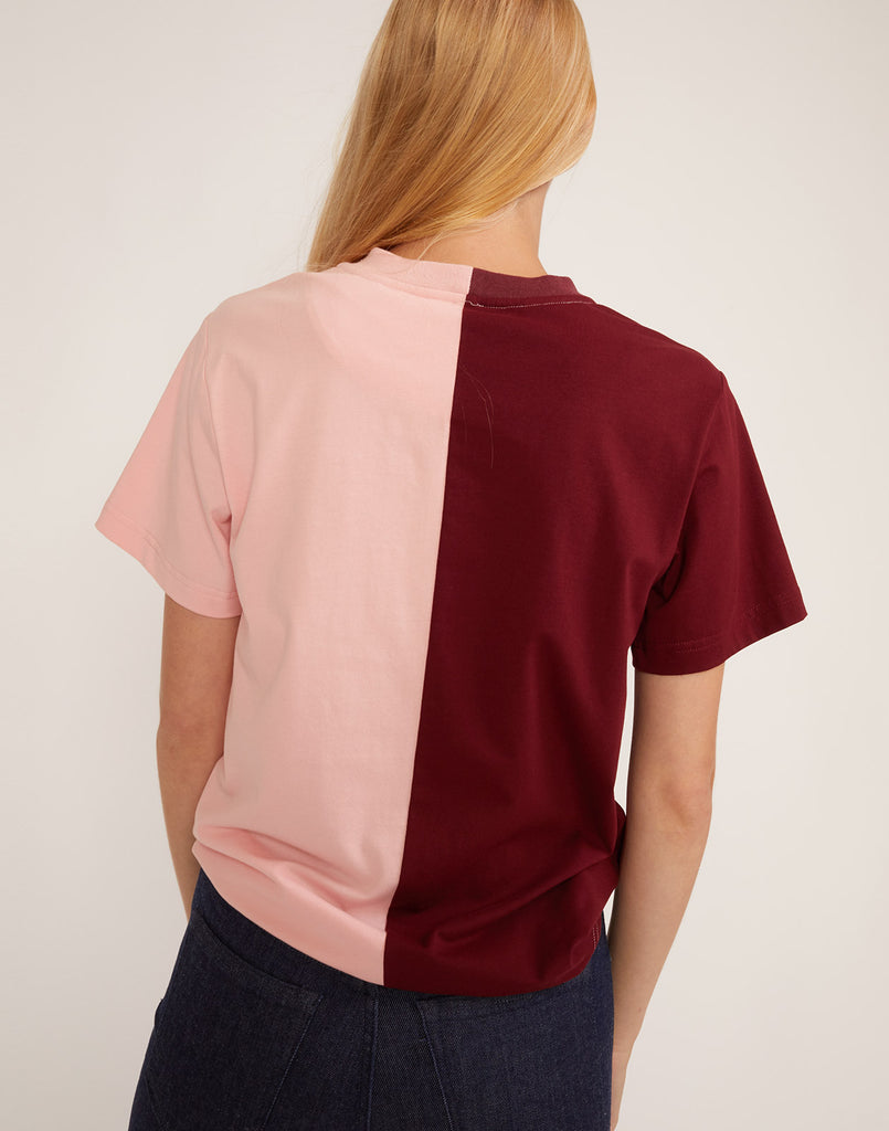 Back view of CRxBandier cotton t-shirt in half burgundy, half blush.