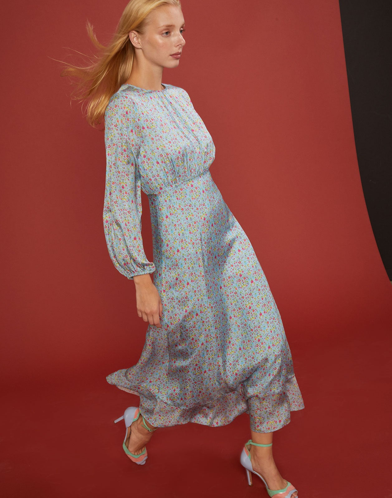 Sky floral printed silk maxi dress with bell sleeves.