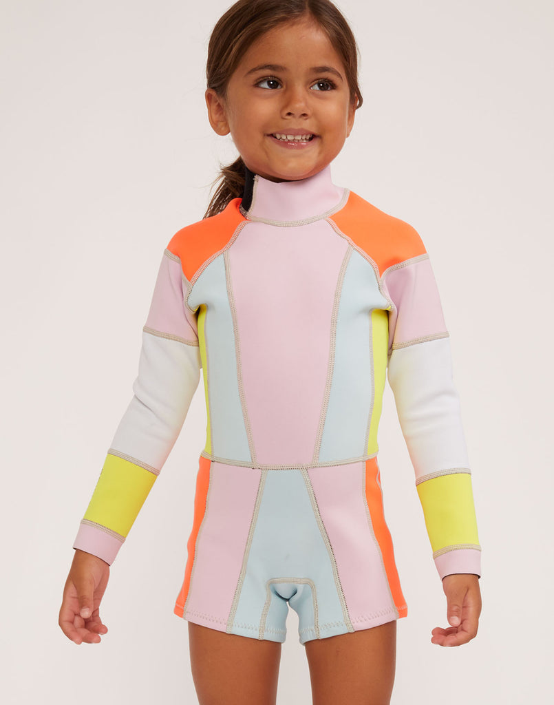 Close front view of kid's colorblock wetsuit.