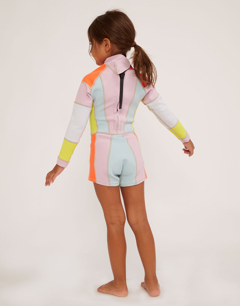 Back view of kid's colorblock wetsuit.