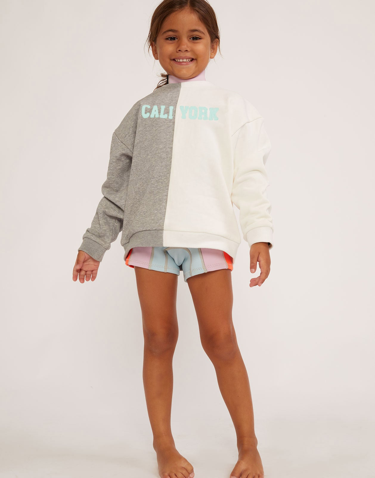 Kid's CaliYork Sweatshirt in grey and mint.