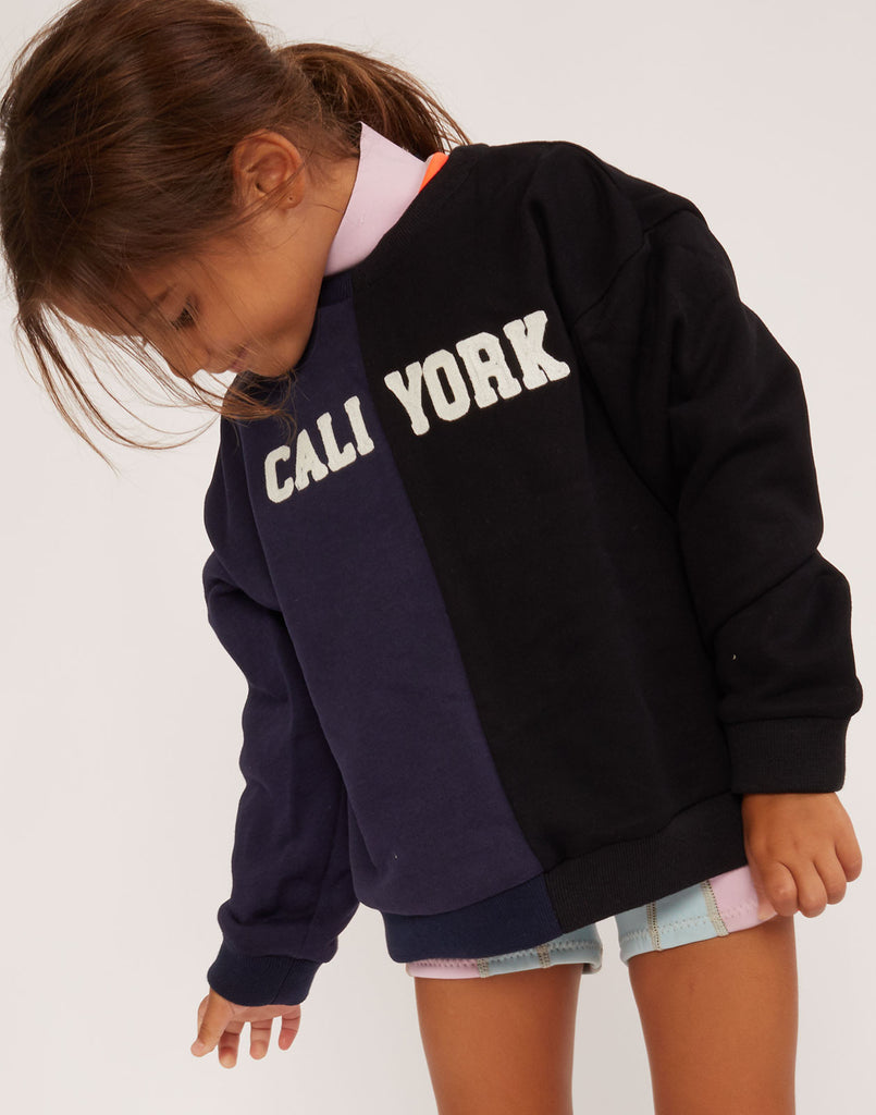 Close view of Kid's CaliYork cotton sweatshirt in navy and black.