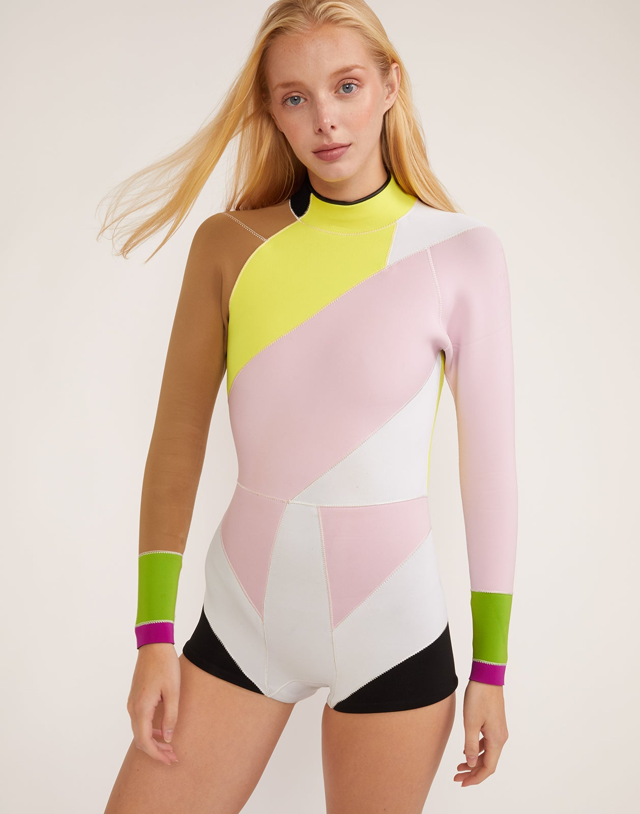 Front view of asymmetrical colorblock Quincy Wetsuit in performance neoprene.