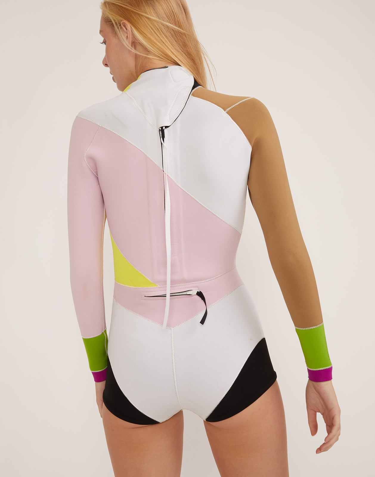 Back view of asymmetrical design Quincy Wetsuit with long sleeves