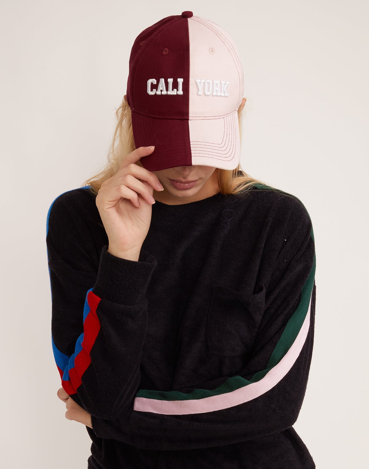 CaliYork Baseball Hat in maroon and pink.