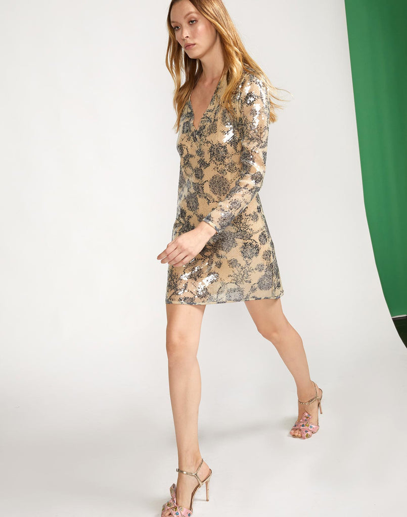 Sequin embroidered floral motif dress