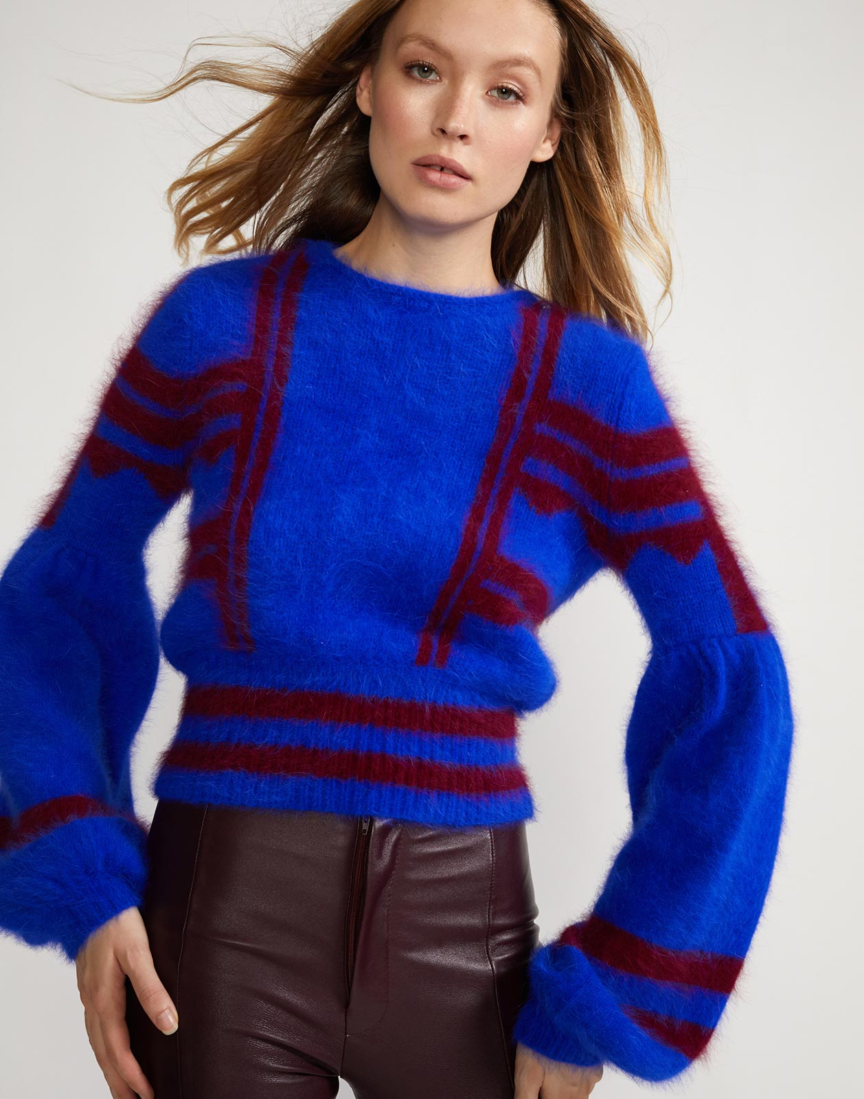 Alternate view of crew neck sweater with bell sleeve