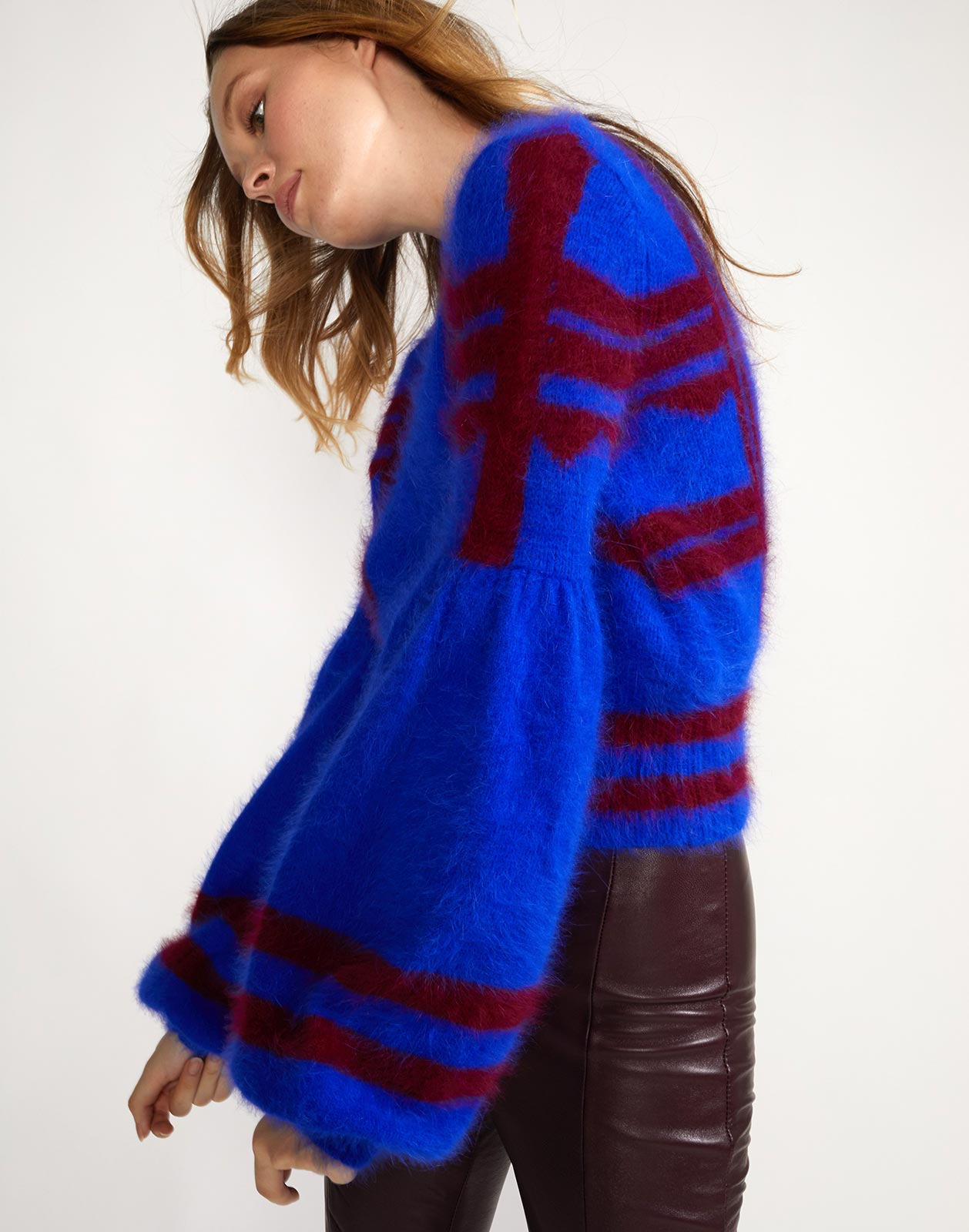 Alternate side view of Willa sweater with intarsia design