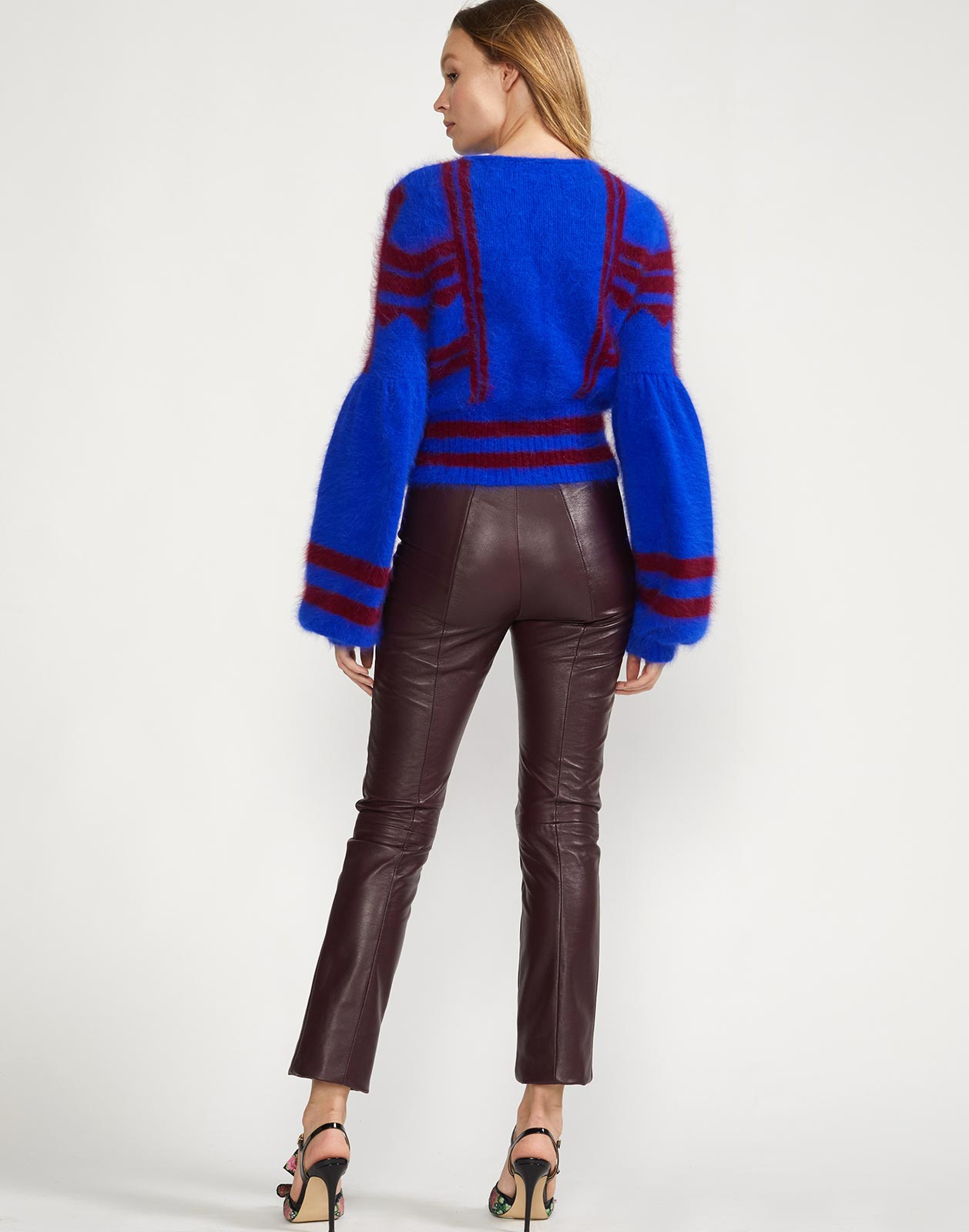 Back view of blue burgundy cropped sweater