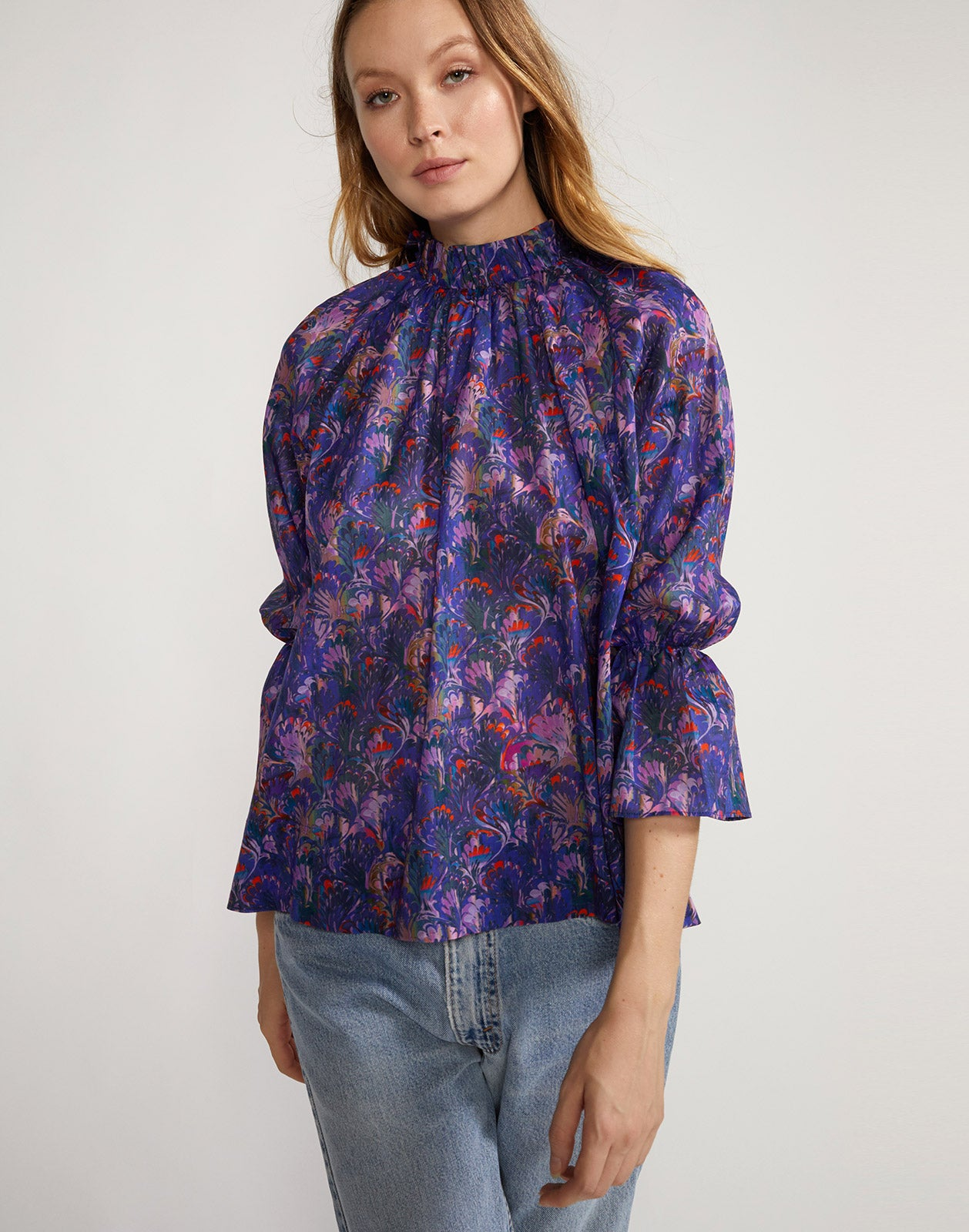 Full view of Marble Cotton Waterfall Blouse