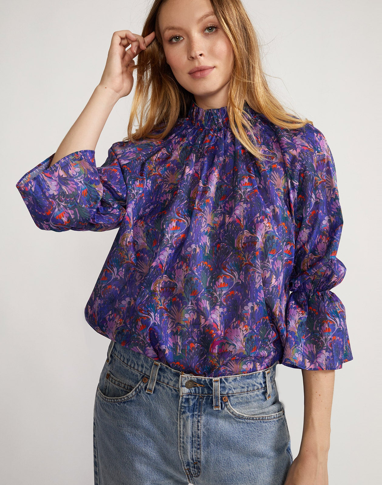 Lightweight cotton marble print blouse