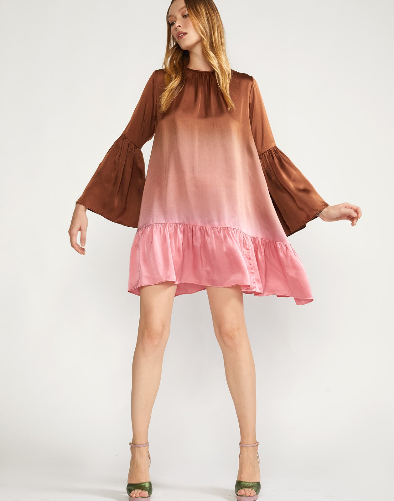 Full view of Siena Ombre Swing Dress with wide flounce hem