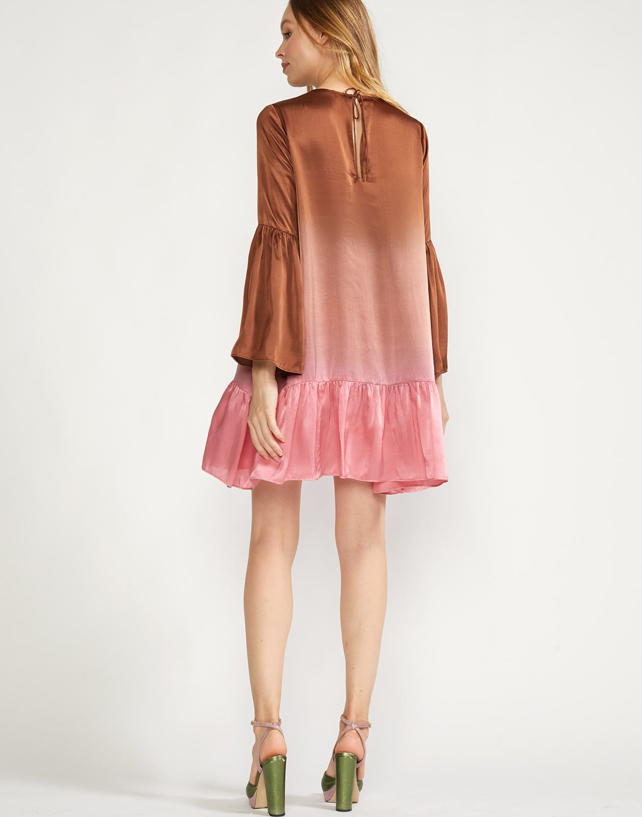 Back view of swing dress with pink and brown ombre