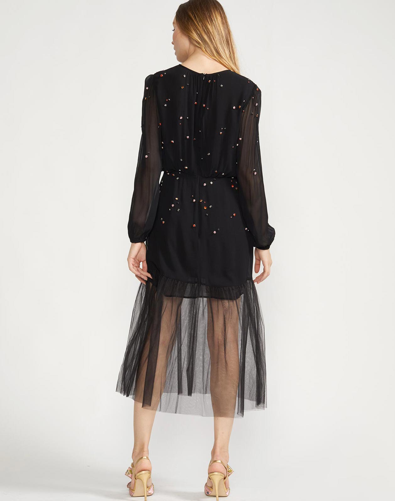 Back view of the Rhinestone embellished dress with sheer accents
