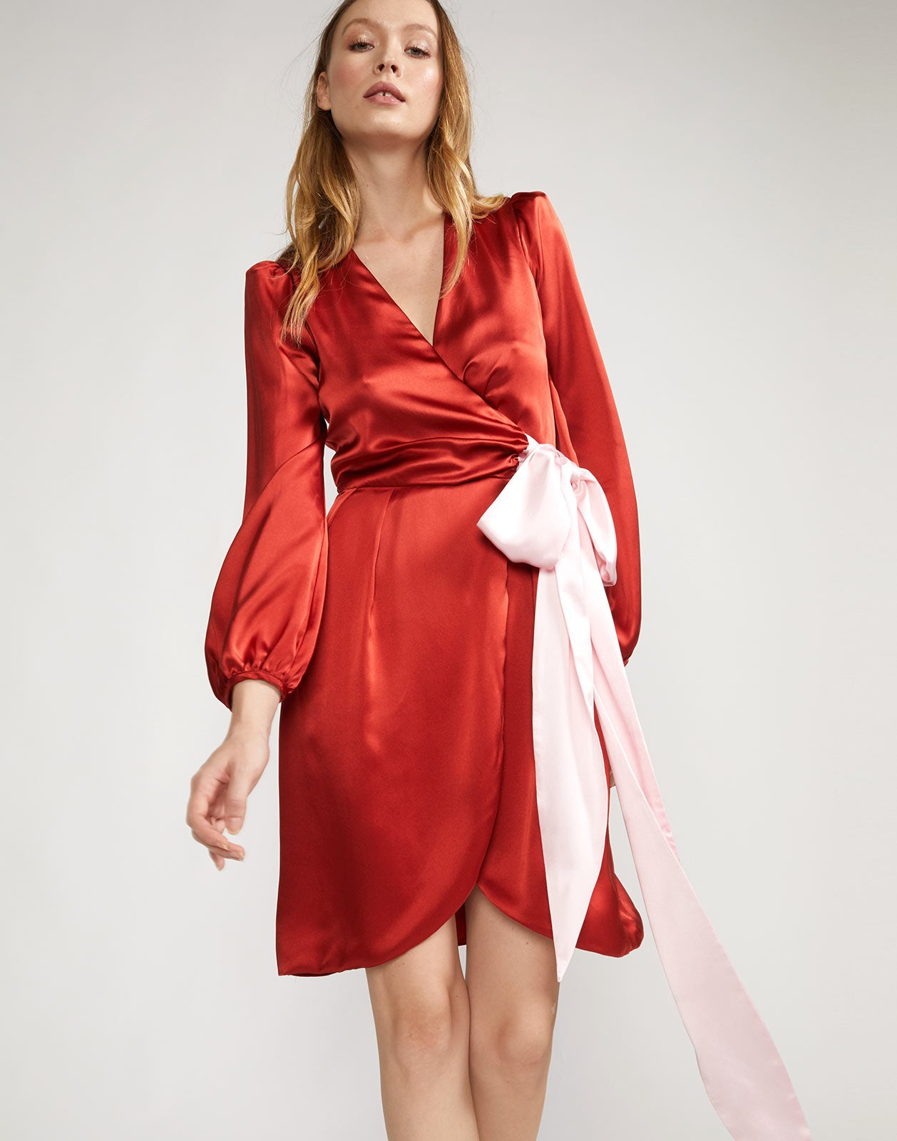 Front view of vibrant charmeuse wrap dress