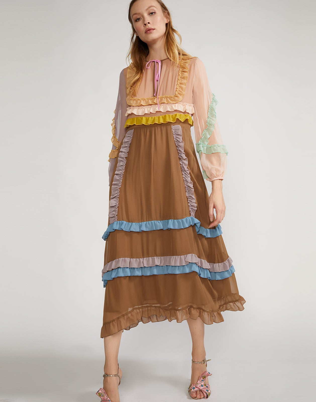 Edie Mini Ruffle Trim Maxi Dress