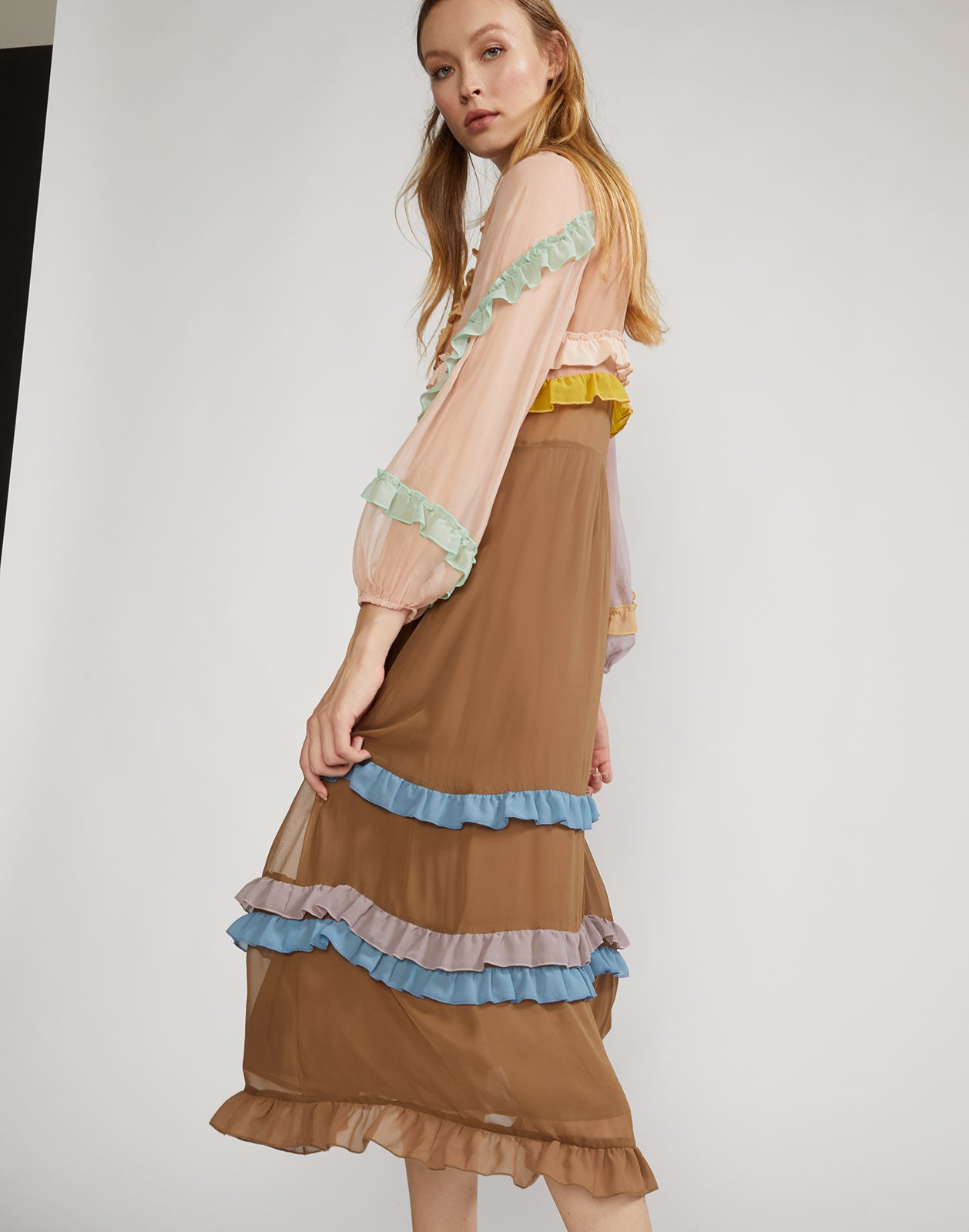 Alternate view of lined chiffon dress with sheer sleeves and multicolor mini ruffle details