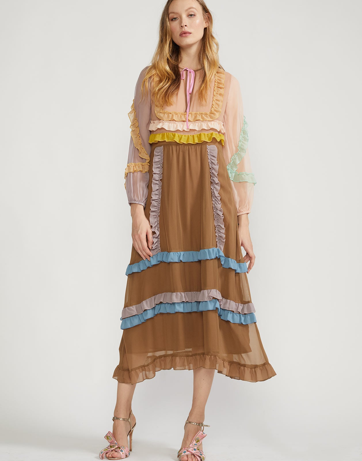 Full view of Edie Mini Ruffle Trim Maxi Dress