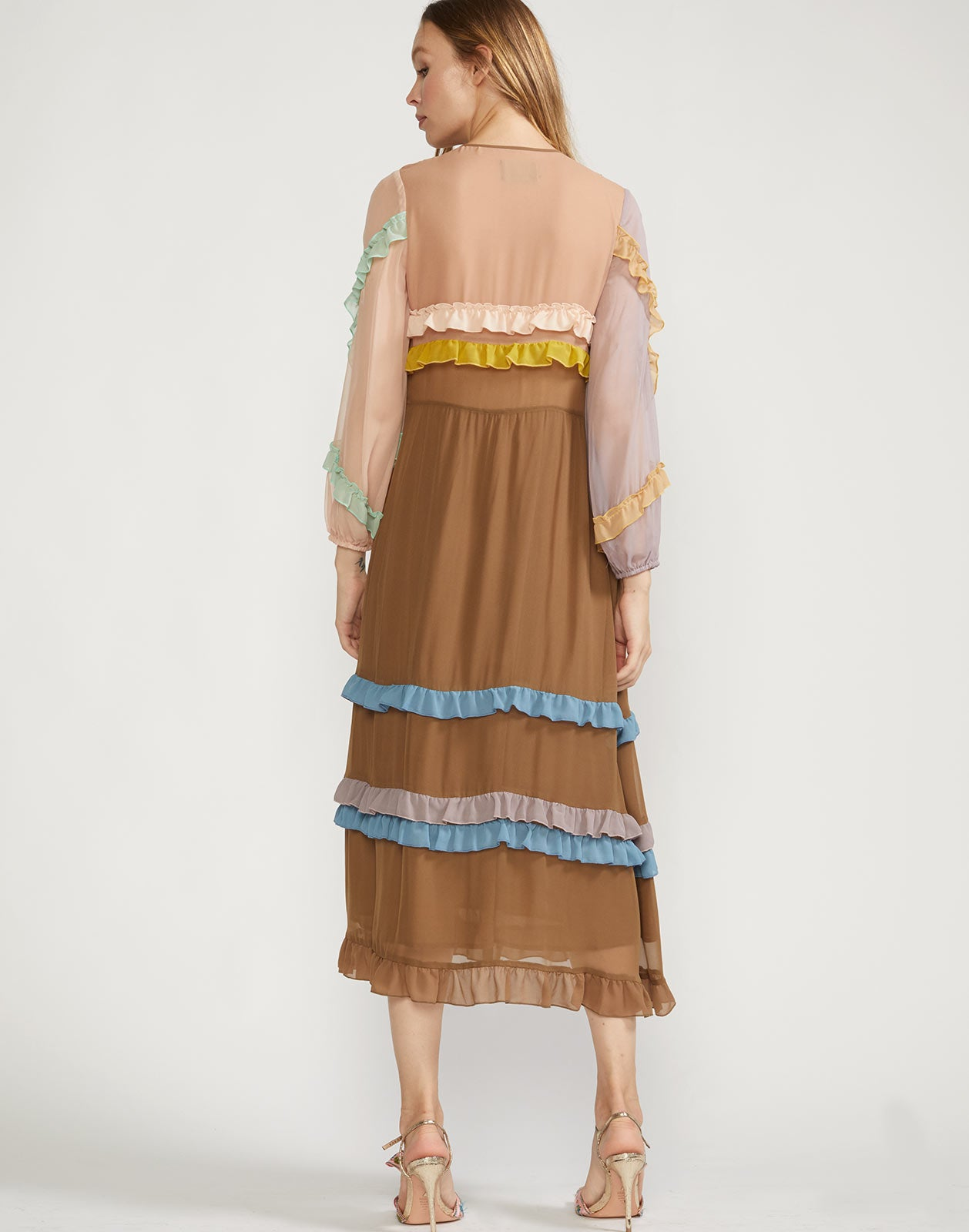 Back view of Edie Maxi dress with multi-color mini ruffle details