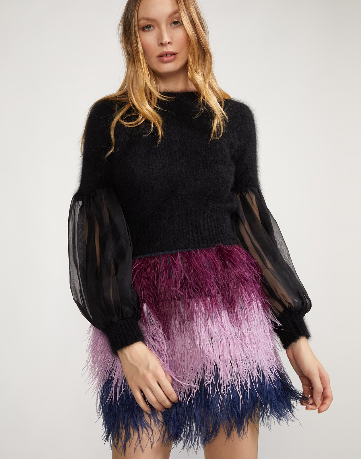 Angora sweater with sheer organza puff sleeves
