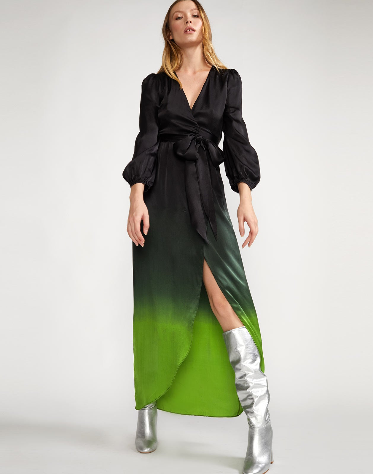 Silk ombre maxi wrap dress with V-neckline