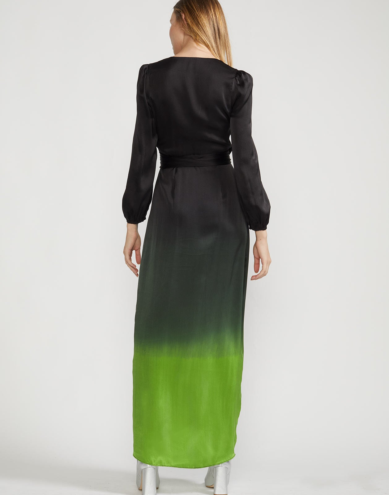 Back view of Felicity dress with black and green ombre and long sleeves