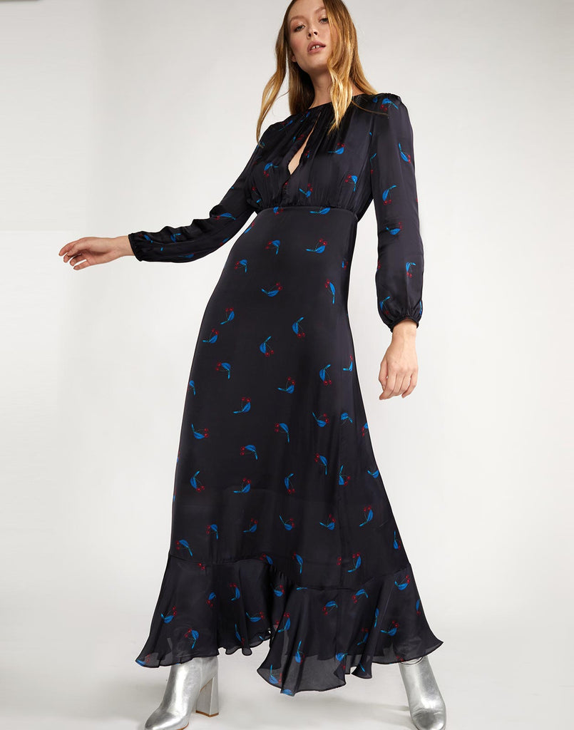 Cherry print long sleeve maxi dress