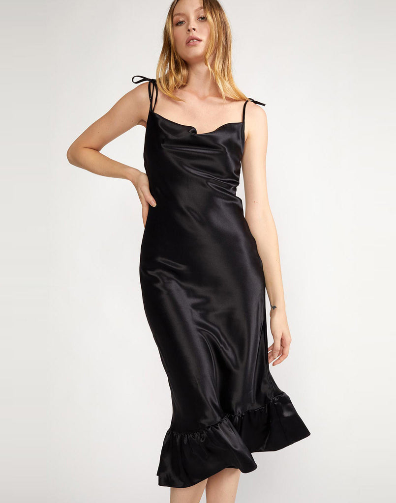 Front view of cowl neck slip dress