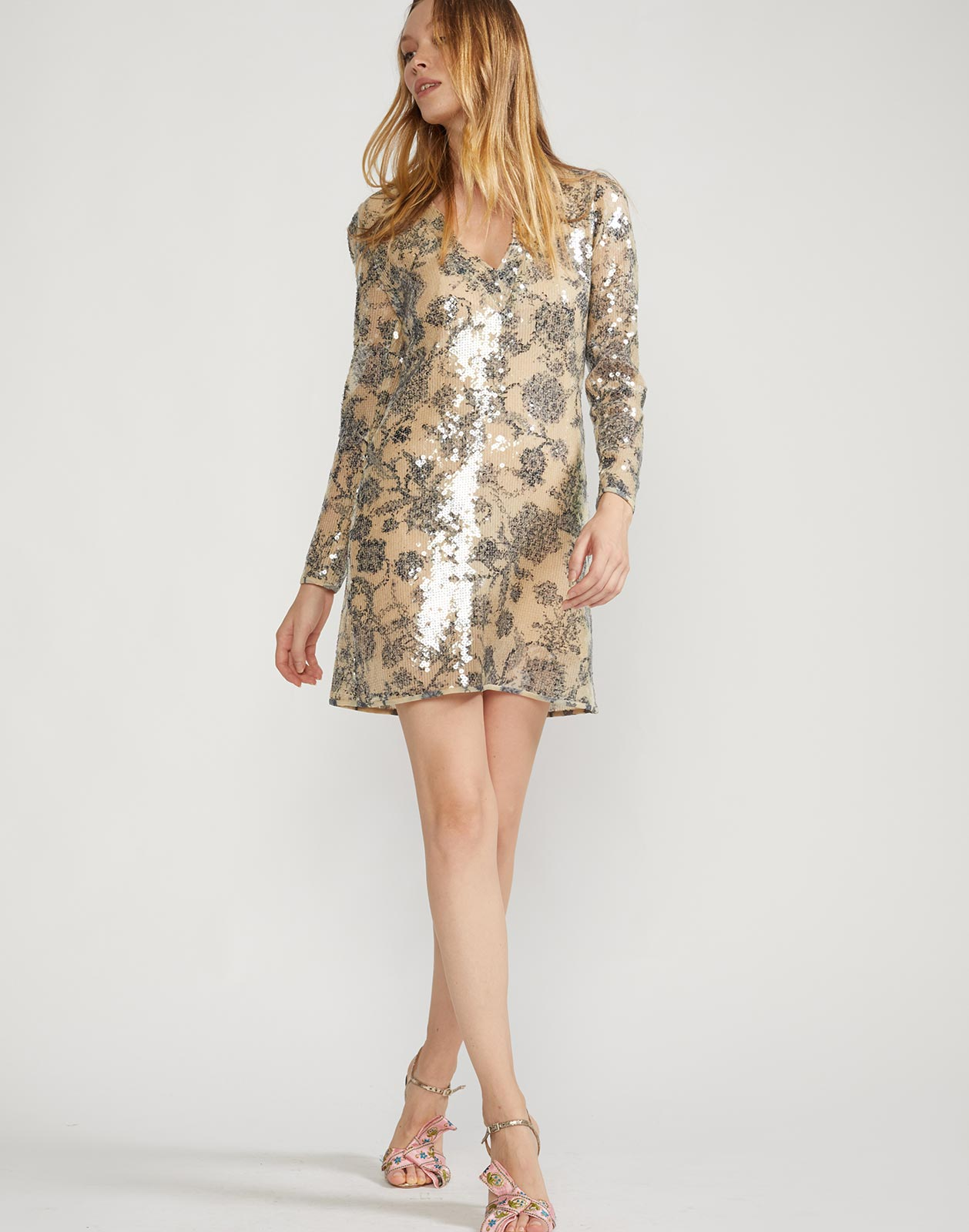Full view of long sleeve mini dress with floral embroidery