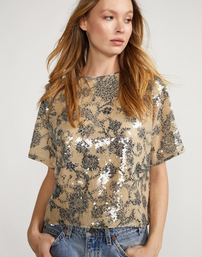 Full view of Reese sequin tee