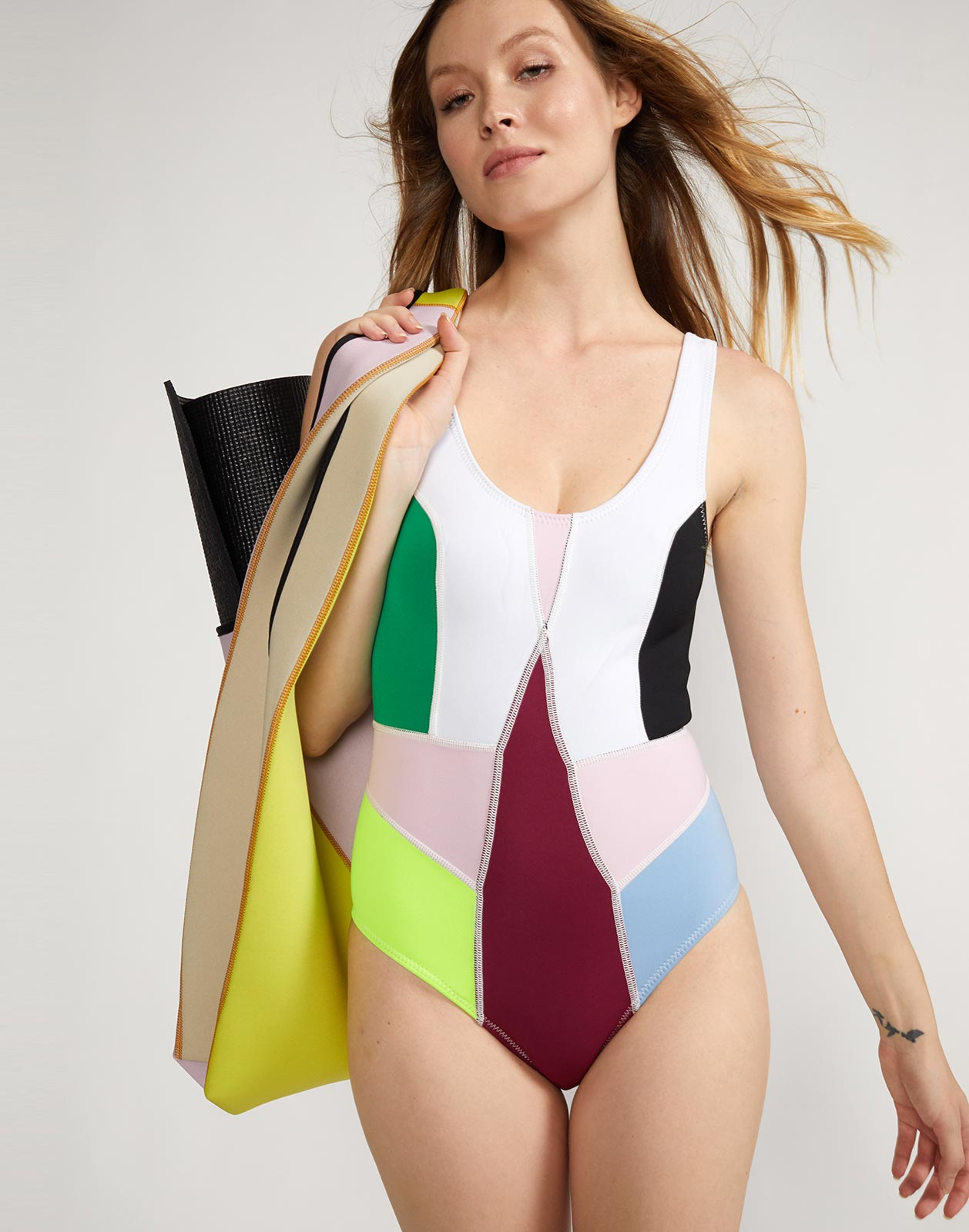 Kalleigh Colorblock Swimsuit and Neoprene Tote Bag