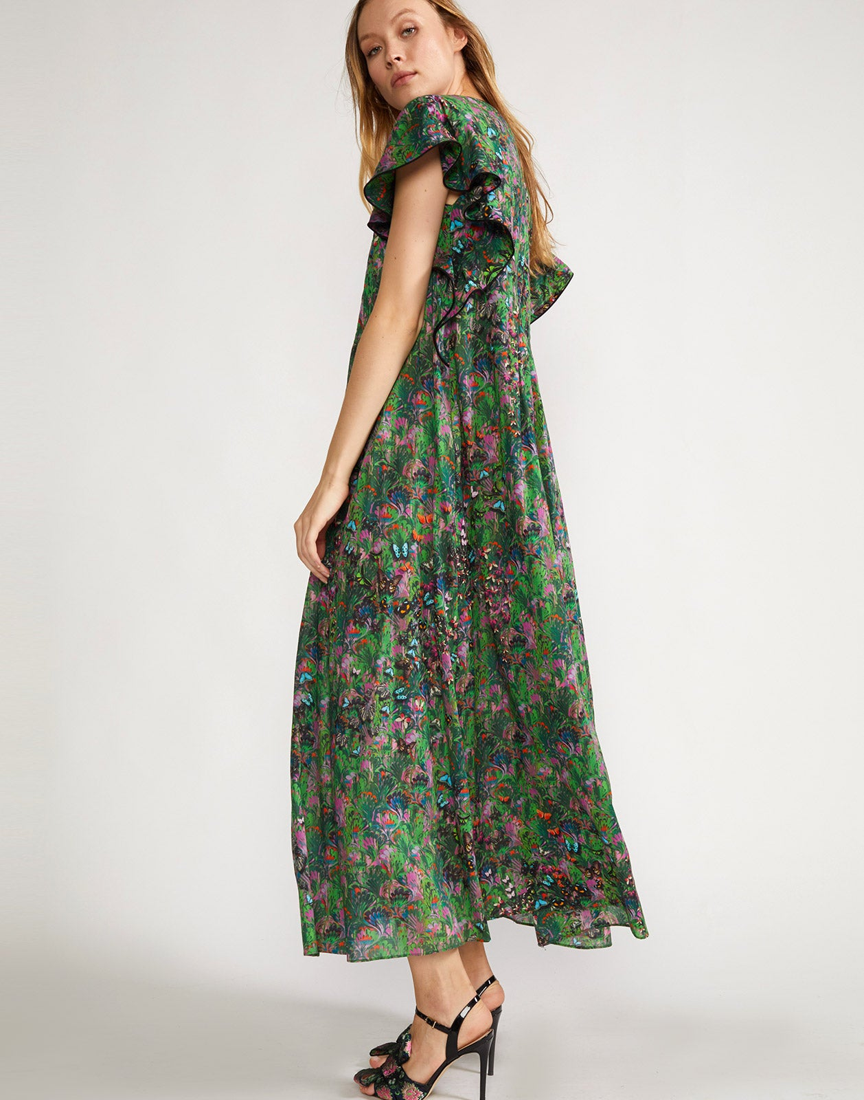 Ruffle sleeve printed dress with maxi length hem