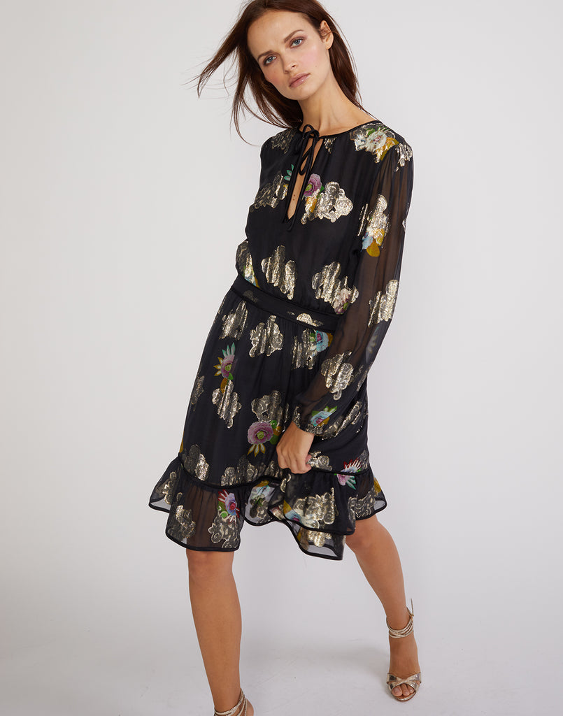 Sheer Metallic Floral Flounce Dress