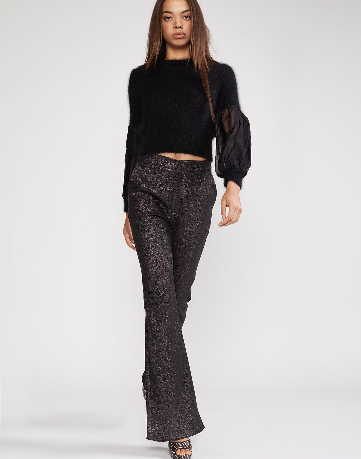 Silver shimmer flare pant with fitted waist and through the hips