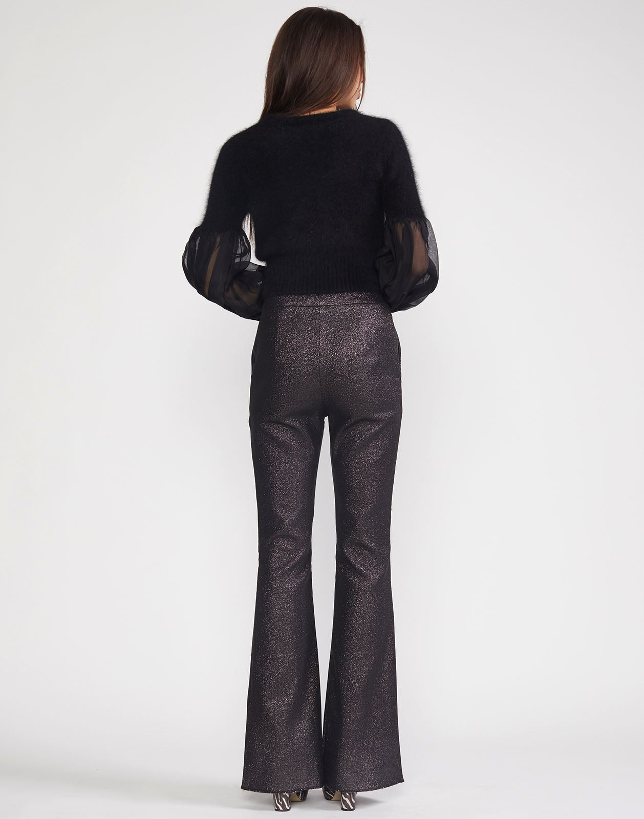 Back view of flare pant with shimmer