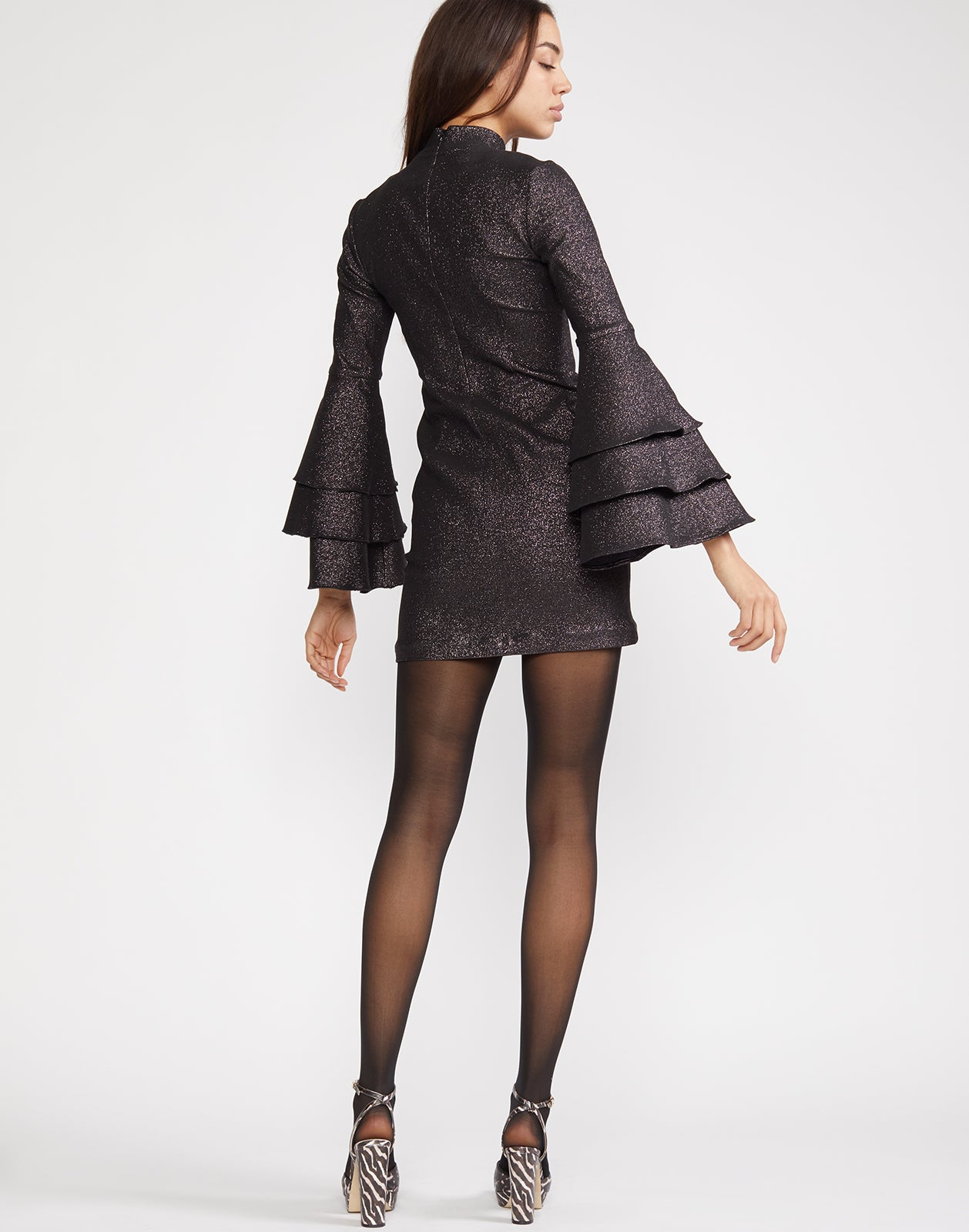 Back view of Natasha Shimmer Dress with bell sleeves