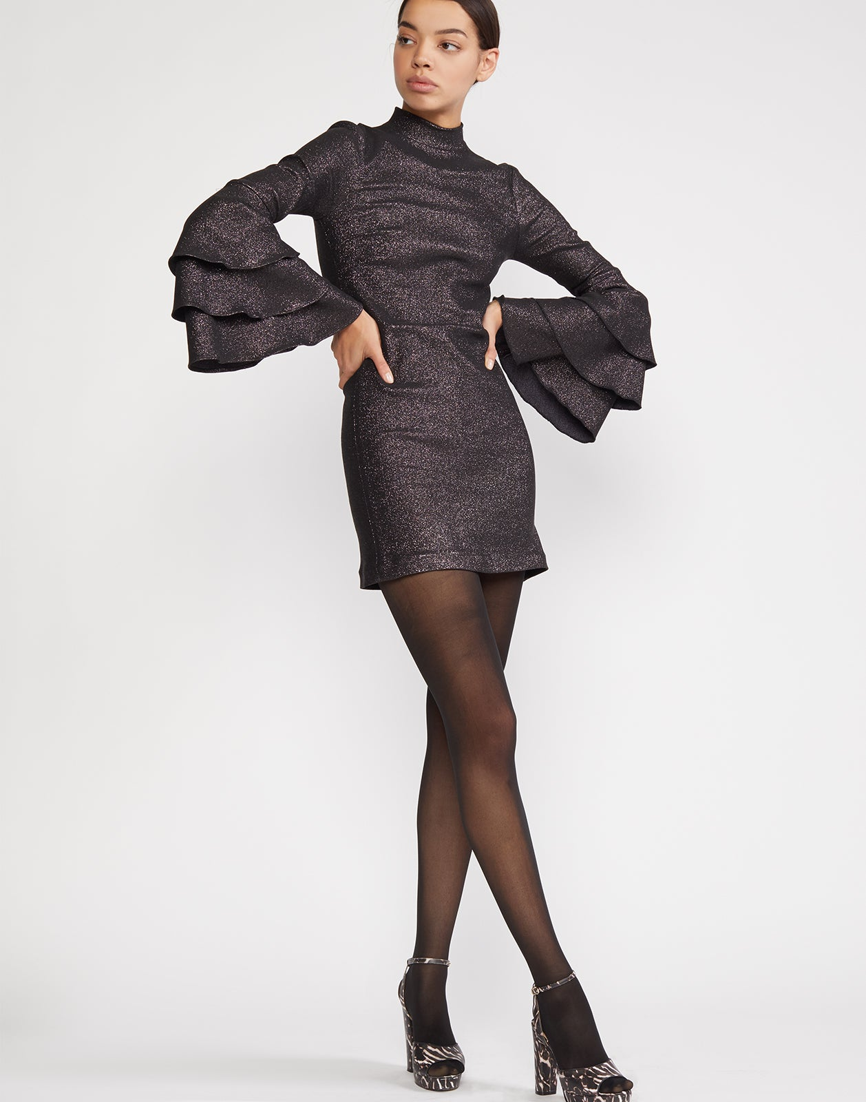Natasha Shimmer Bell Sleeve Dress