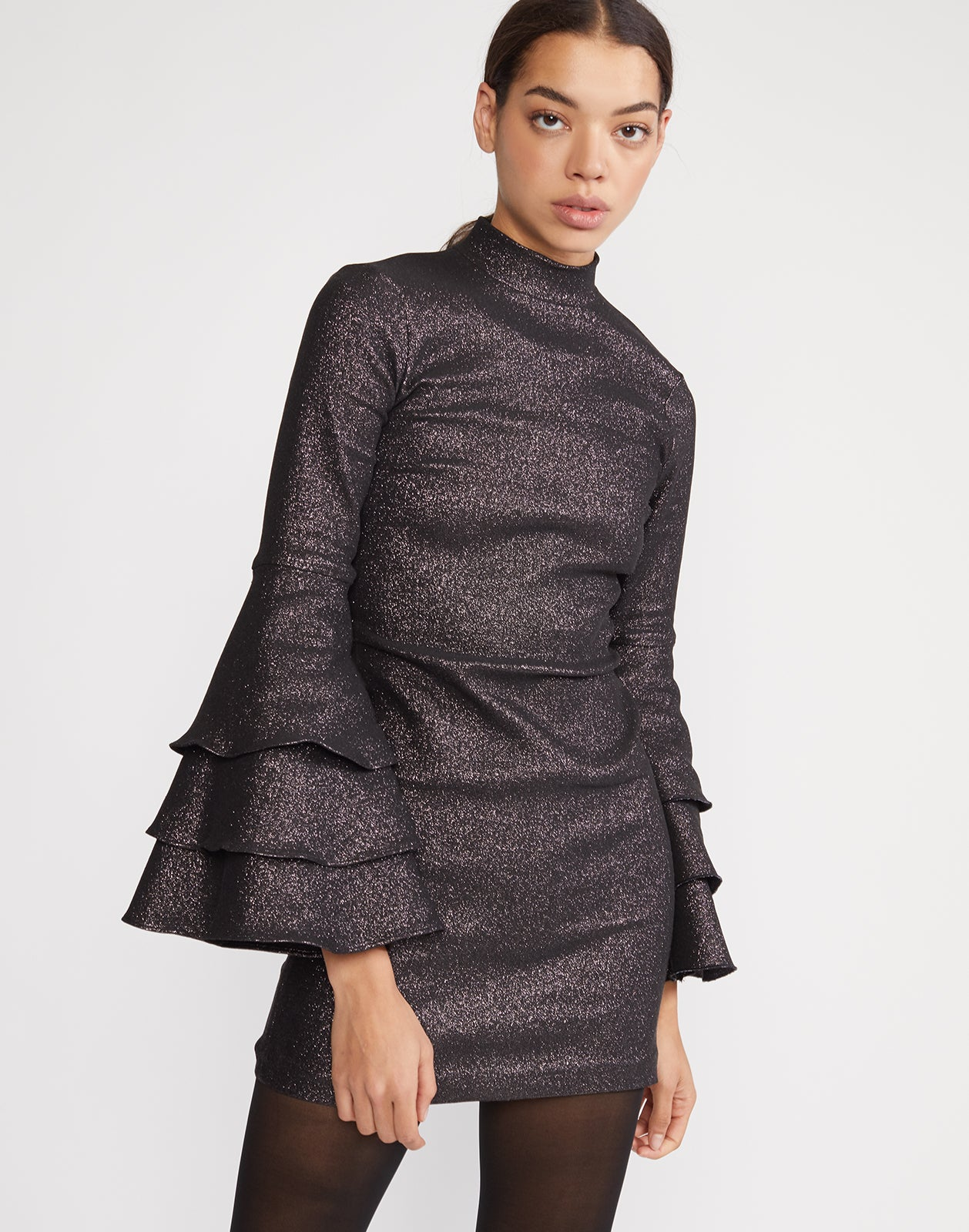 Front view of Natasha Shimmer Bell Sleeve Dress with high neck