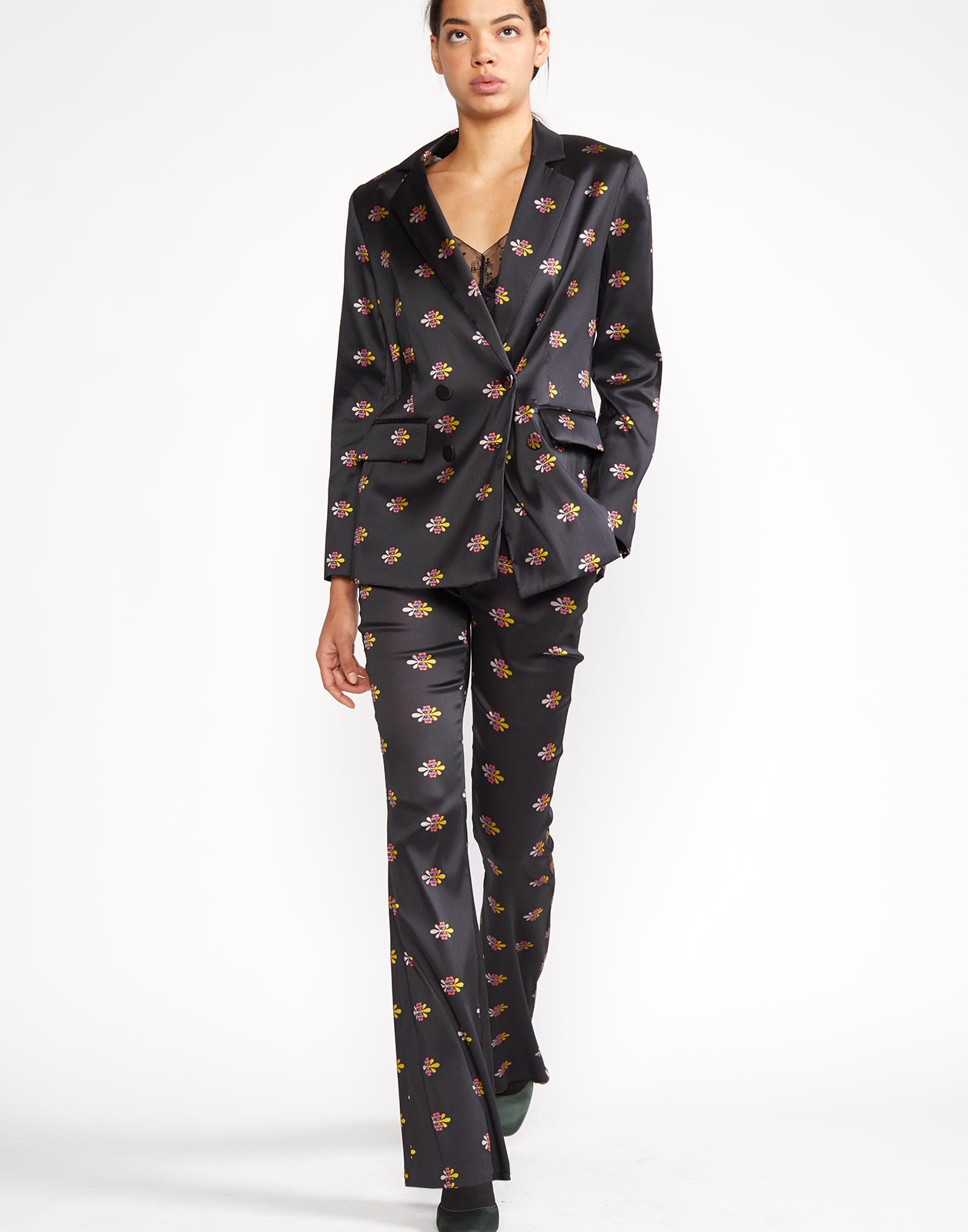 Alternate view of the Nathalie Jacquard Trouser with woven floral motif