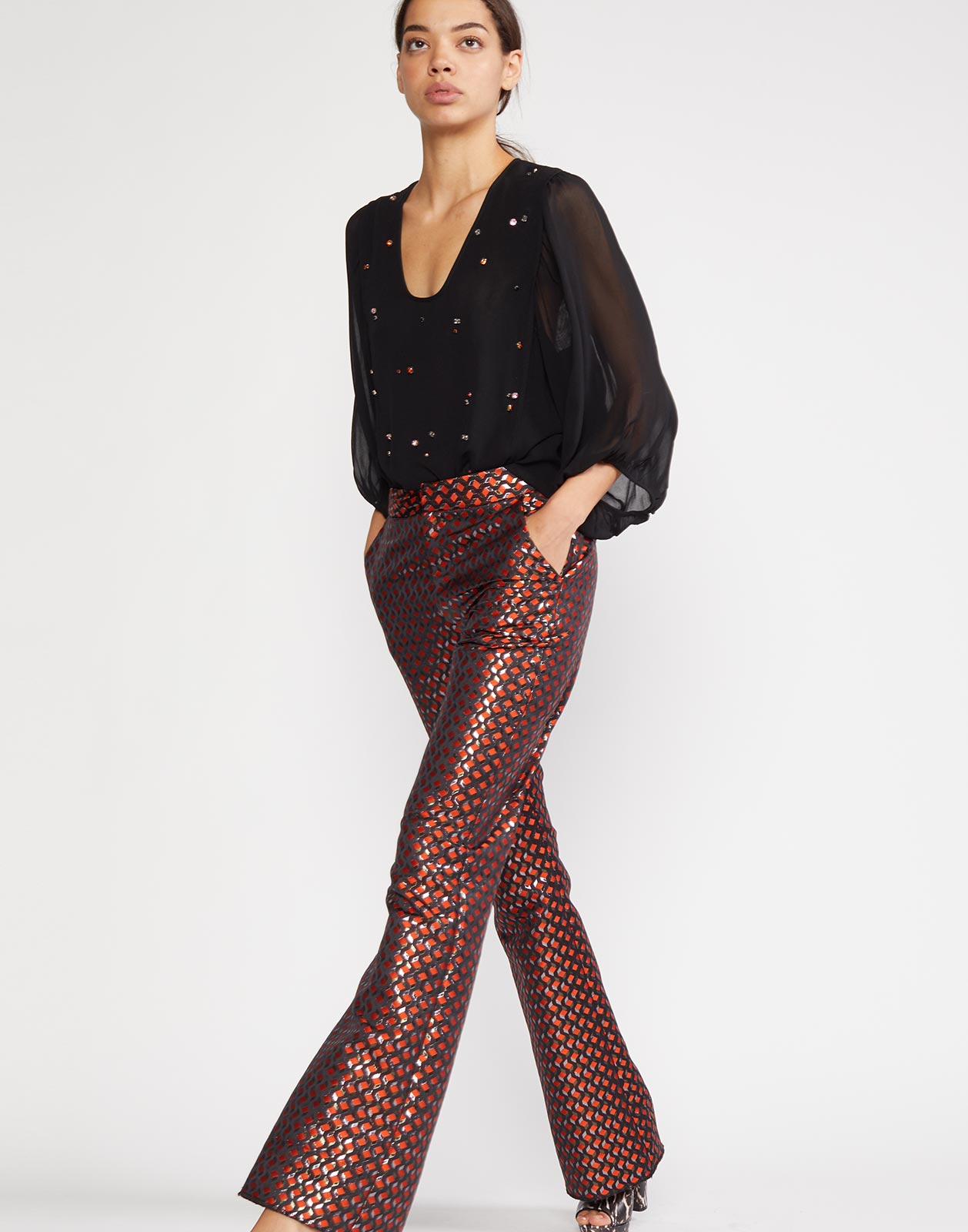 Theo Jacquard Flare Pant