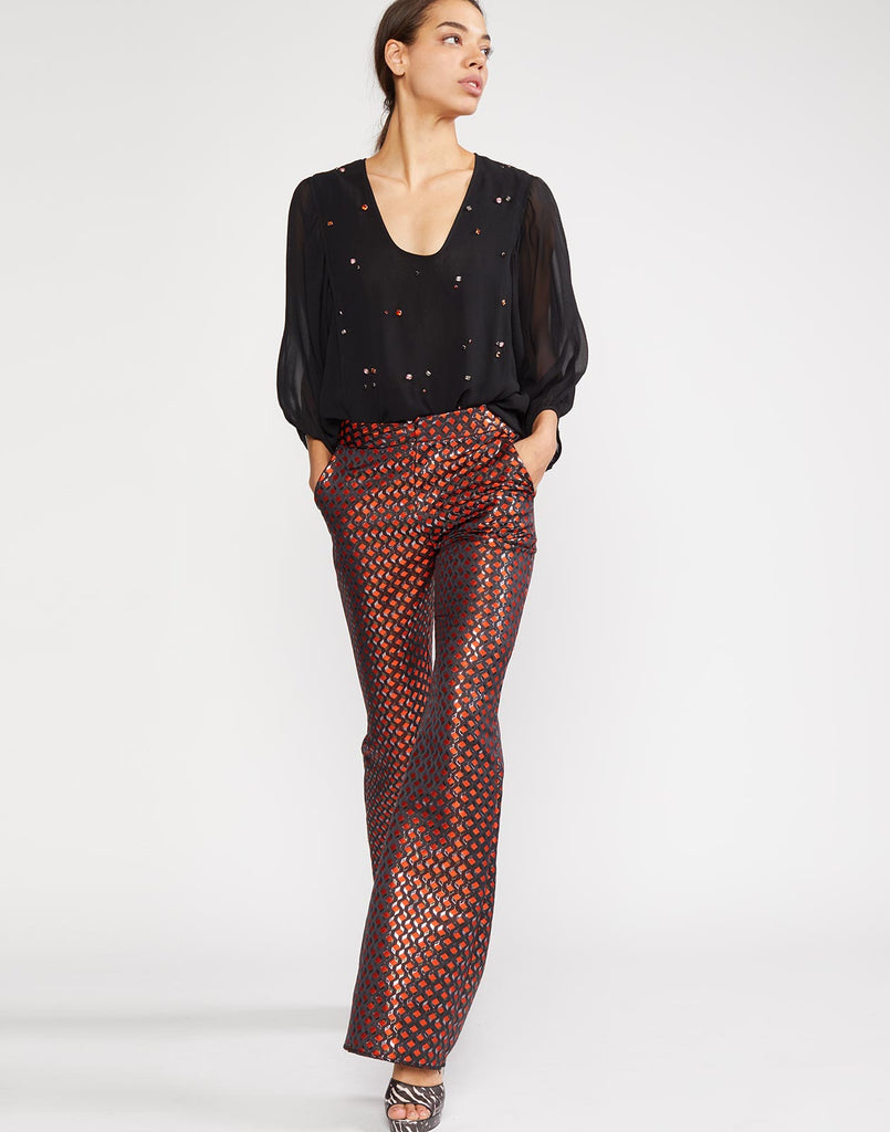 Alternate view of Theo geometric jacquard trouser with shine